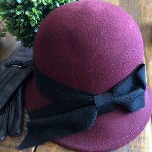 Nordstrom Burgundy Cloche with ribbon